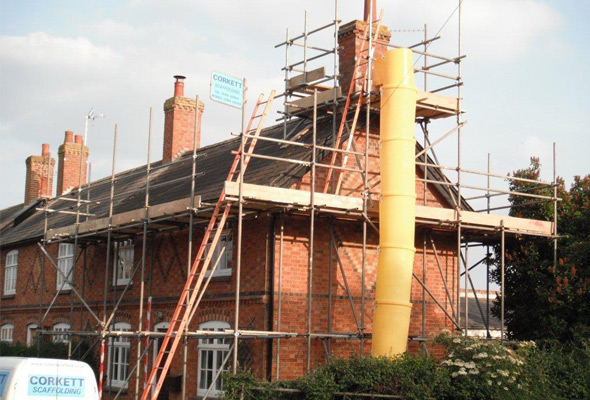 Scaffolding in Mursley, Buckingham, Bucks